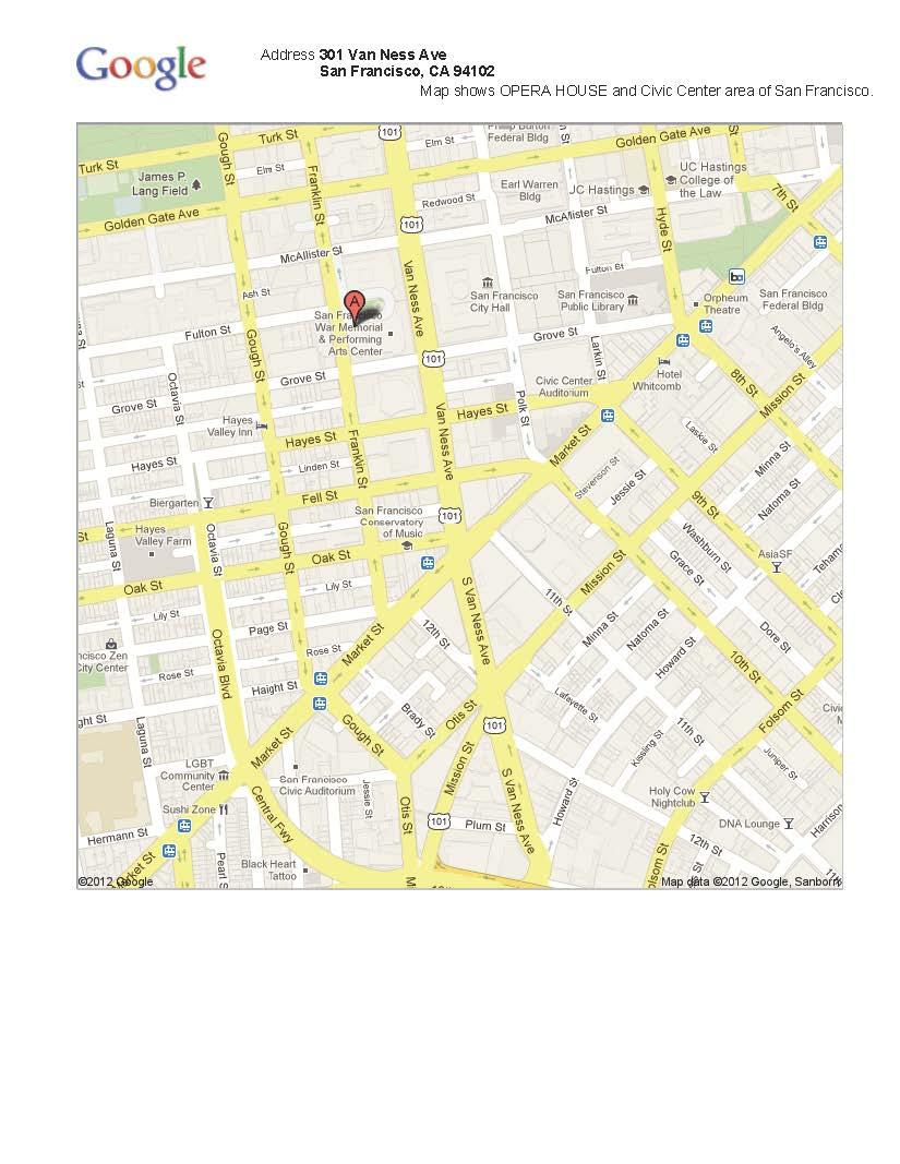 Picture of: Map War Memorial Opera House And Surrounding Area San Francisco Ca Abdu L Baha In America