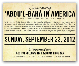 Centenary of 'Abdu'l-Bahá's Visit to Lincoln, Nebraska