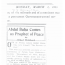 Abdul Baha Comes as Prophet of Peace By Elbert Hubbard