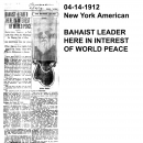 Bahaist Leader Here in Interest of World Peace