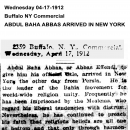 Abdul Baha Abbas Arrived in New York