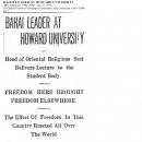 Bahai Leader at Howard University