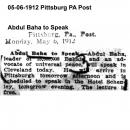 Abdul Baha to Speak