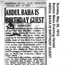 Abdul Baha is Birthday Guest