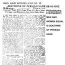 Men and Women Equal is Doctrine of Persian Sage