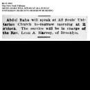 Abdul Baha Will Speak at All Souls' Unitarian Church To ...