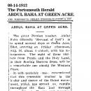 Abdul Baha at Green Acre