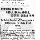 Persian Teacher, Abdul Baha Abbas, Scents Great War