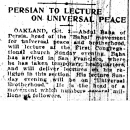 Persian To Lecture On Universal Peace