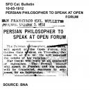 Persian Philosopher to Speak at Open Forum