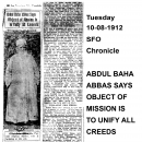 Abdul Baha Abbas Says Object of Mission Is To Unify All Creeds