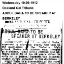 Abdul Baha to Be Speaker at Berkeley
