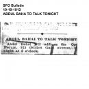 Abdul Baha to Talk Tonight