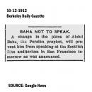 Baha Not to Speak