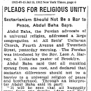 Pleads For Religious Unity